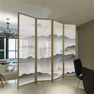 山水画夹丝夹胶艺术玻璃中国风屏风移门隔断